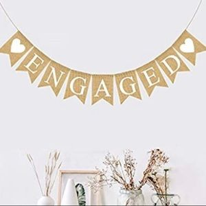 Engaged Banner in Rustic Burlap